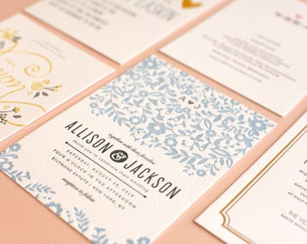 Letterpress Wedding Invitation Suite