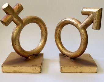 Iconic C. Jere MidCentury Gender Symbol Gilt Bookends