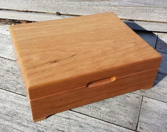 Wooden Box - Heirloom Keepsake Box - 8x10 - Cherry Keepsake Box - Memory Box - Personalized Wooden Box -  Engraved Valet Box