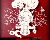Template, Papercut Template, Papercutting Template, Yoga Kitty, Papercutting, DIY Gift, Commercial, Personal, DIY, Chef Art, Kitchen Art