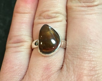 mexican fire agate ring - fire agate stone ring silver - mexican fire agate ring size 7 - Gemstone ring - size 7 ring - sterling silver
