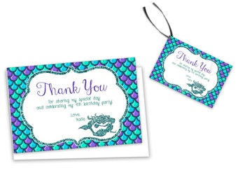 Mermaid Thank You Card - Mermaid Birthday Tags - Under The Sea Party - Glitter - Mermaid Party Favor Tag - Girls - Blue Mermaid Baby Shower