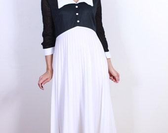 Black and White 1970s Maxi Accordion Dress