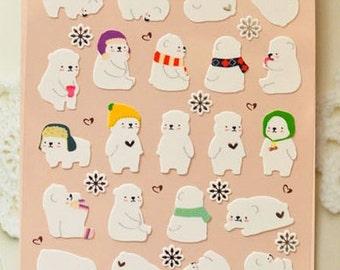 NEW Kawaii Winter Bear Sticker - COZY BEAR Spring Stickers(yellow one)