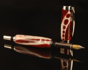 Alligator Jawbone Rollerball Pen or Fountain Pen with Transparent Red Acrylic filling