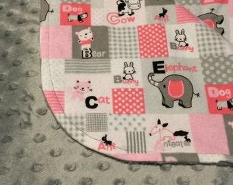 Baby Blanket, Baby Girl Blanket, Pink Baby Blanket, Gray Baby Blanket, Baby Shower Gift, Baby Receiving Blanket, Toddler Blanket