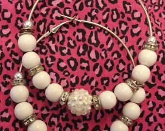 Clearance white basket ball pave hoop earrings