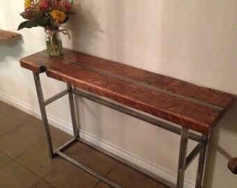 Reclaimed Wood Media Table. Industrial Sofa Table. Industrial Console Table.  Entry Table.