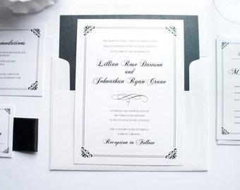 Formal Wedding Invitation - Black Wedding Invitation, Formal Wedding Invites, Elegant, Formal Wedding Invitation - Deposit