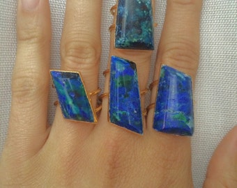 SALE // Azurite Gold Ring // Malachite Azurite Ring // chrysocola ring