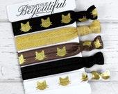 Cat Hair Tie Set - Elastic Hair Ties - Hair Tie Bracelet - Cat Accessories - Scrunchie - Creaseless Ties - Gifts for Her - Hair Accessories