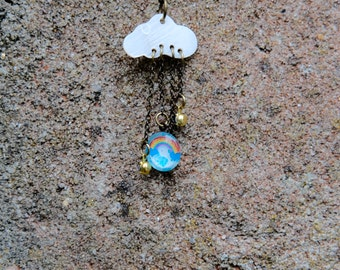Rainbow Rain cloud Necklace
