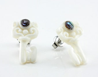 "Hand Carved- ""Majestic Key"" - Bone with Abalone Inlay Stud Earring - Freedom"