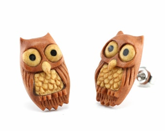 "Hand Carved - ""Chill Owl"" - Sabo Wood with Jackfruit and Ebony Wood Inlay Stud Earring - Wisdom of Owls"