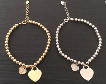 Heart Bracelet, Gold Bracelet, Layering Stackable Engraved Bracelet, Charms bracelet, gift ideas, birthday gift, heart charm bracelet,