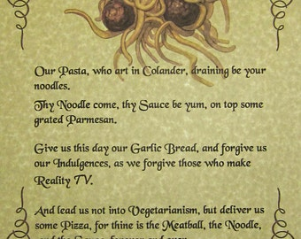 FSM Lord's Prayer Poster, Pastafarian Flying Spaghetti Monster Agnostic Atheist God