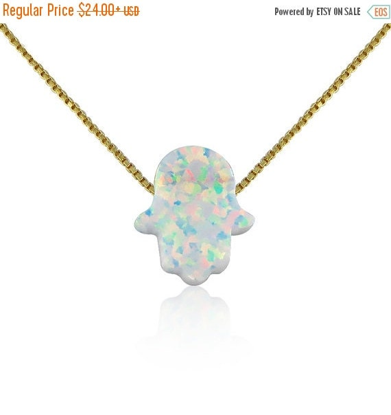 white opal hamsa necklace gold