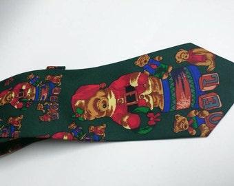 Vintage Christmas teddy bear tie
