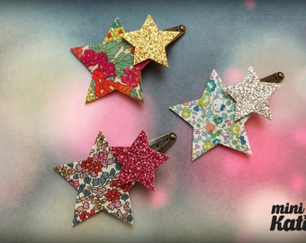 mini Katie Liberty Twinkle Star Hair Barrette Hair clip Adorable Girl Glitter baby hair clips