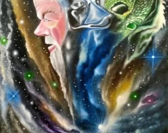 Cairo Nights - 24x18 Oil on Canvas Original Painting, Spirit Animal Art, Mystical Art, Cosmic art, Space Art, Animal Portraits, Religious