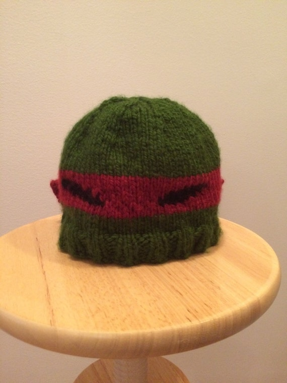 Raphael Ninja Turtle hat Hand Knit from Soft Yarn by ...