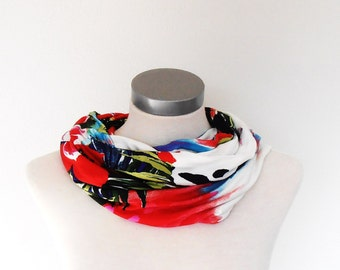 infinity scarf  flowers,red,blue,white infinity loop,Tube scarf,infinity scarf,circle scarf,round scarf,winter scarf,gift idea