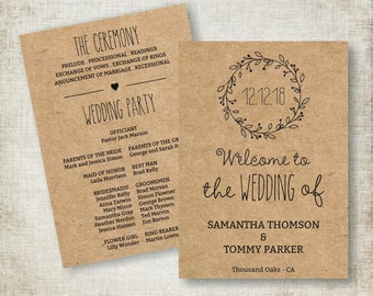 Wedding Ceremony Program Download, Editable Text, Kraft Wedding Program Template, Instant Download PDF template, Classic Wreath