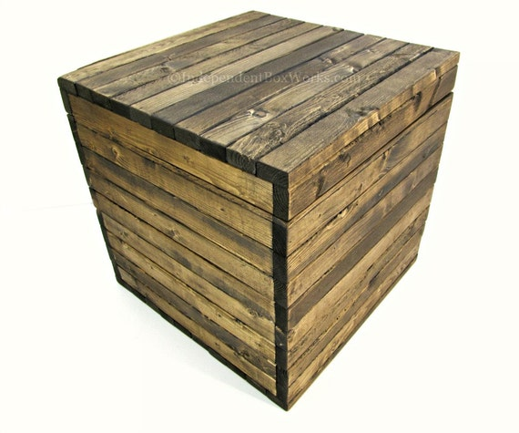 15 Inch Rustic Wooden Cube Box With Lid Dark Walnut Stained