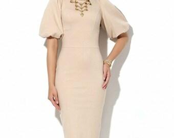 Elegant Formal dress Wedding knee length dress Office dresses Business clothes Evening Dress Biege knee dress