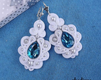 Mega With & Turquoise with Crystall Soutache Earrings