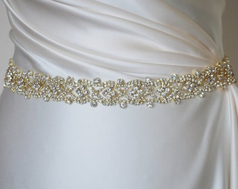 Gold bridal belt, gold belt, gold bridal sash, gold rhinestone belt, gold sash belt, Crystal Gold Sash, gold wedding belt, Gold Wedding Sash
