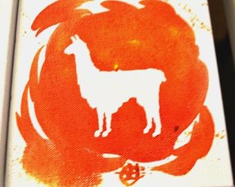 Llama Acrylic Painting 6x6