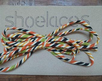 Handmade Shoelaces - Orange stripes