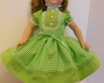 """Lime Green Gingham Dress Set for 18-19"""" Effanbee Honey Walker Dolls"""