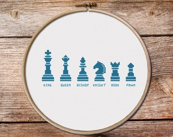 chess cross stitch pattern, chees, easy cross stitch, Instant Download PDF