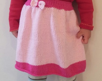 Knitting pattern, 100% cotton knitted skirt with exchangeable elastic, toddler skirt knitting pattern, pink skirt pattern