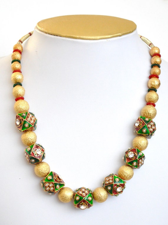 Red, green and gold  beaded necklace   Indian necklace  Indian Jewelery  