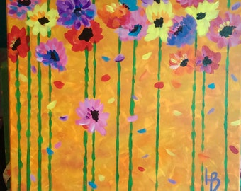 Abstract Poppies Acryllic Painting