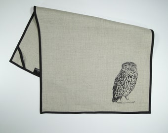 Little owl - hand sewn and screen printed linen tea towel