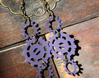 Purple Gear Dangle Earrings