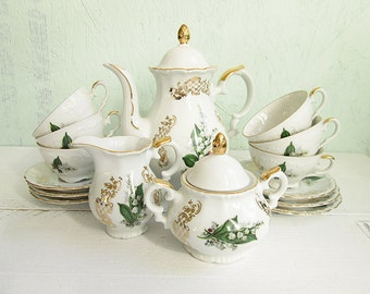Vintage Bavaria complete demitasse set, coffee set, mocca set with lilies of the valley.
