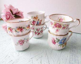 Vintage Mismatched Tea Cups. Set of 6. High Tea Cups Bridal Shower Tea Set Bone China