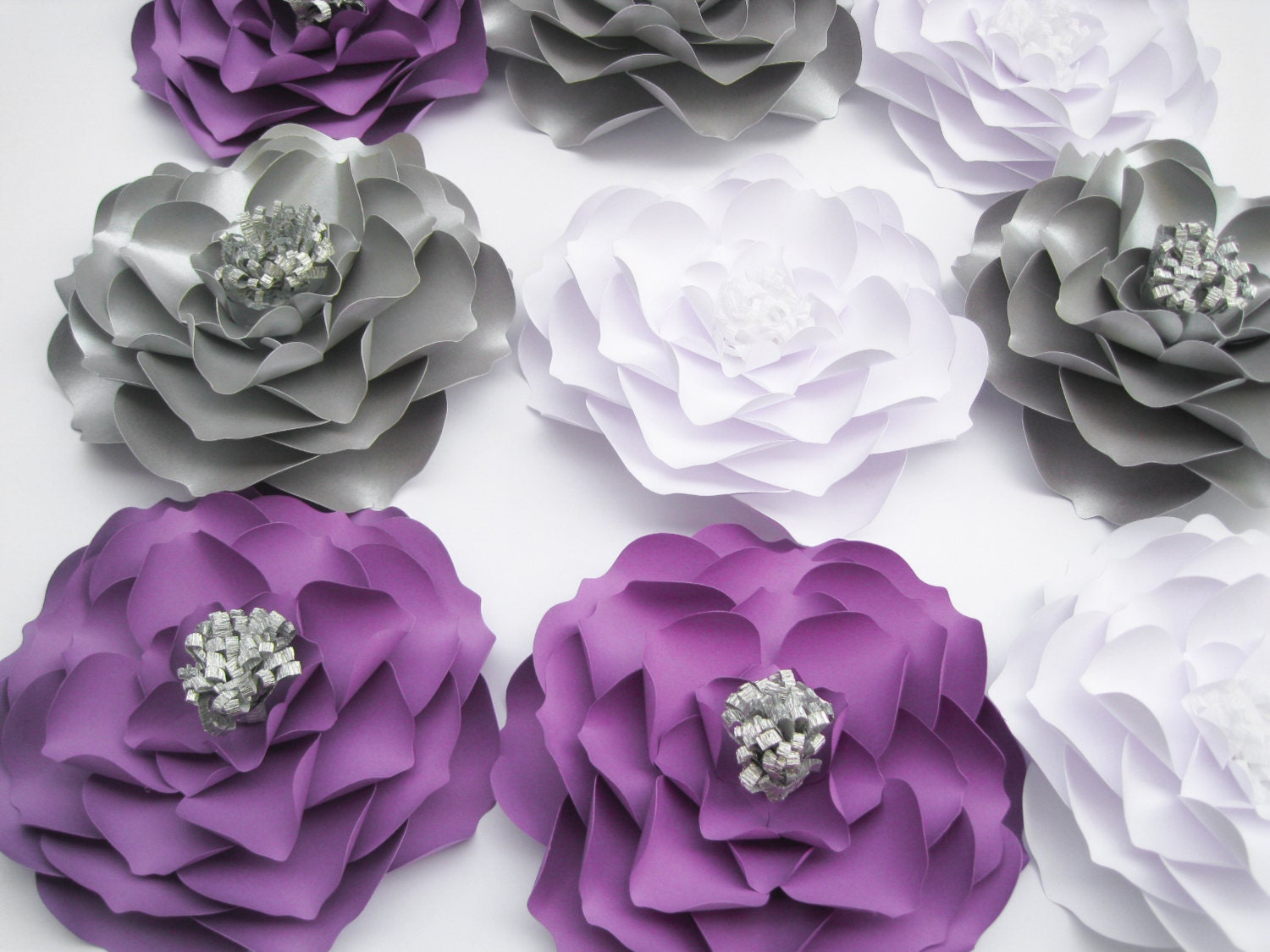 9 paper flowers white purple and silver flowers wedding zoom amipublicfo Image collections