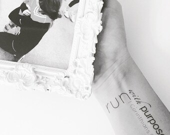 Race Tattoo | Race Distance | Run Tattoo | Runner Motivational Tattoo | Temporary Tattoo | Set of two