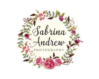 Flowers wreath logo premade logo design and watermark bohemian logo flowers logo floral logo photography logo boutique logo