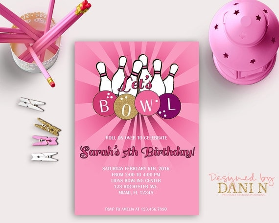 Pink bowling birthday invitation hot pink bowling party invite il570xn filmwisefo
