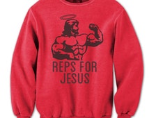 Reps Jesus Working Out Work Out Mma Lifting Gym Crewneck Sweatshirt DB0021