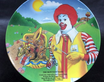 Vintage McDonalds Restaurant Collectible Plate 80s The McNugget Band Ronald McDonald 1989
