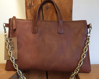 Small shopping bag with cowhide leather made in Italy