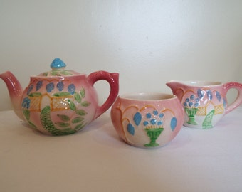 Vintage Pink Tea Pot And Matching Sugar Bowl And Creamer. Vintage Avonware Teapot With Cottage Garden Design - Holds Two Cups. Very Cute!